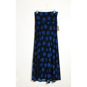 Lularoe Maxi Skirt Floral Black Blue Small NWT